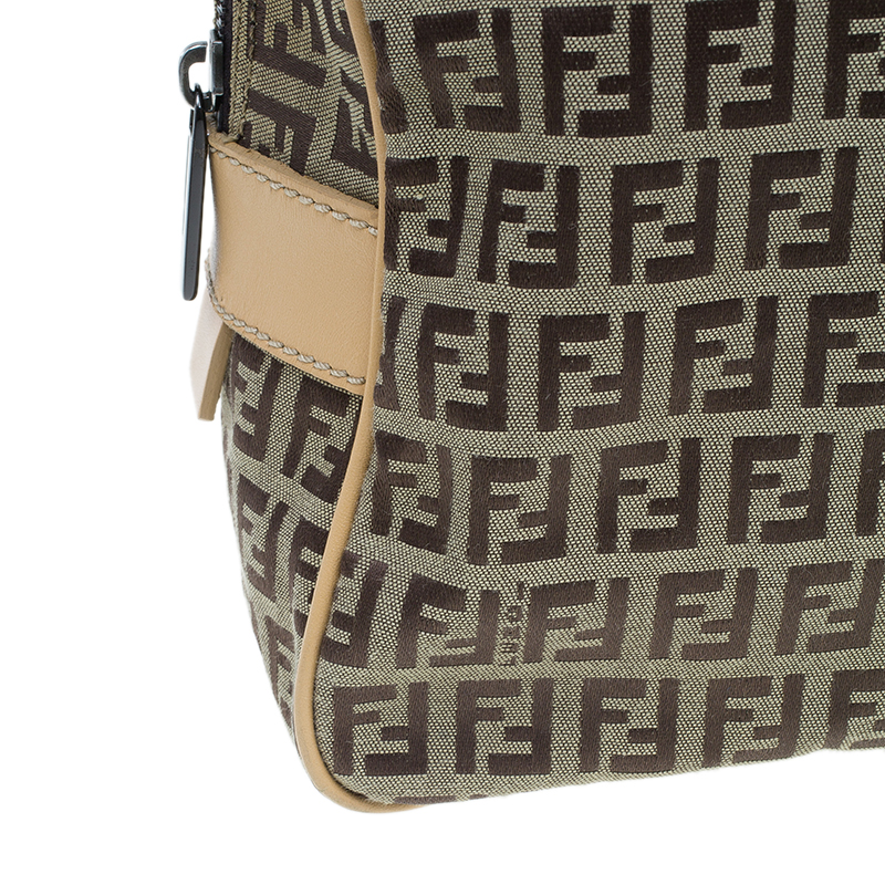 Fendi Brown Zucchino Canvas Boston Bag