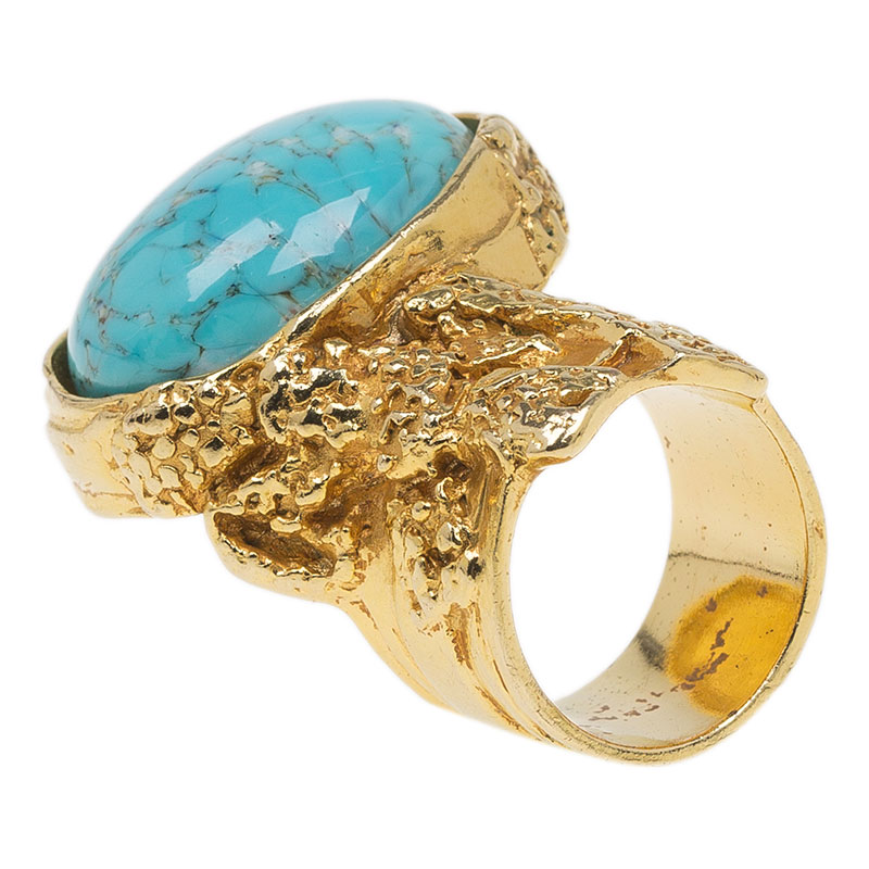 Saint Laurent Paris Arty Turquoise Ring Size 54.5