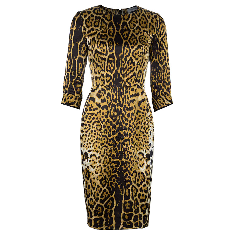 Saint Laurent Paris Leopard Print Silk Dress M