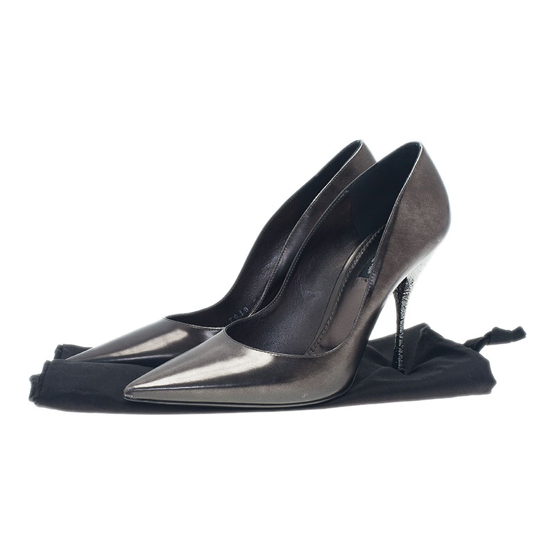 Dolce and Gabbana Grey Metallic Leather Pointed Toe Pumps Size 38