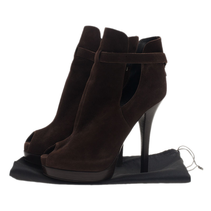 Fendi Brown Suede Peep Toe Platform Ankle Boots Size 38