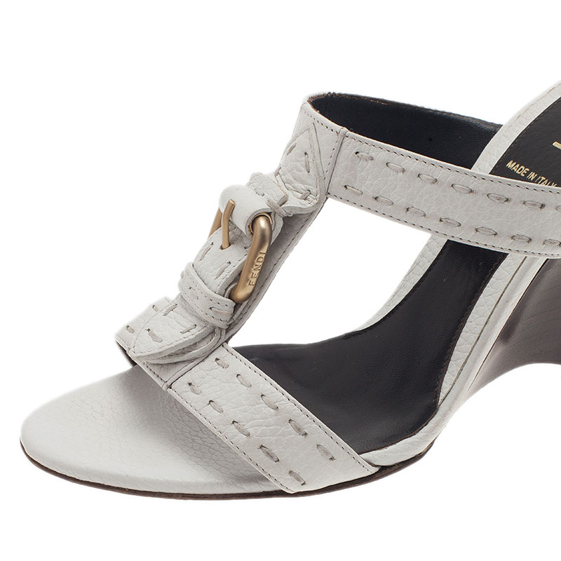 Fendi White Leather Buckle Slides Size 37.5