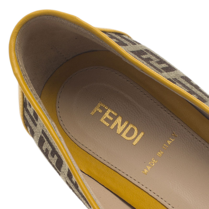 Fendi Brown and Yellow Zucchino Leather and Canvas Ballet Flats Size 36