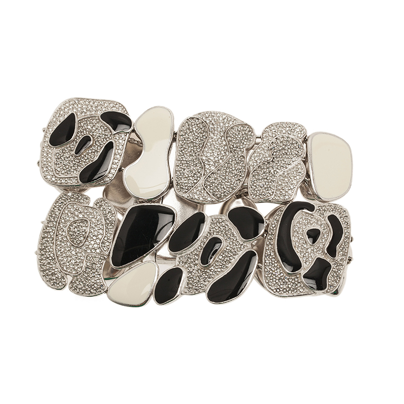 Dior Animalia Crystal Black And White Enamel Silver Tone Bracelet