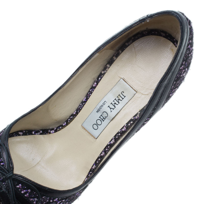 Jimmy Choo Black and Purple Tweed Bow Peep Toe Pumps Size 38