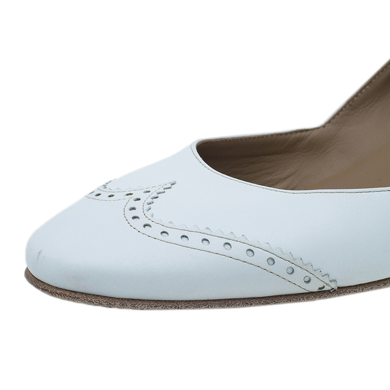 Hermes White Brogue Leather Wedge Pumps Size 39
