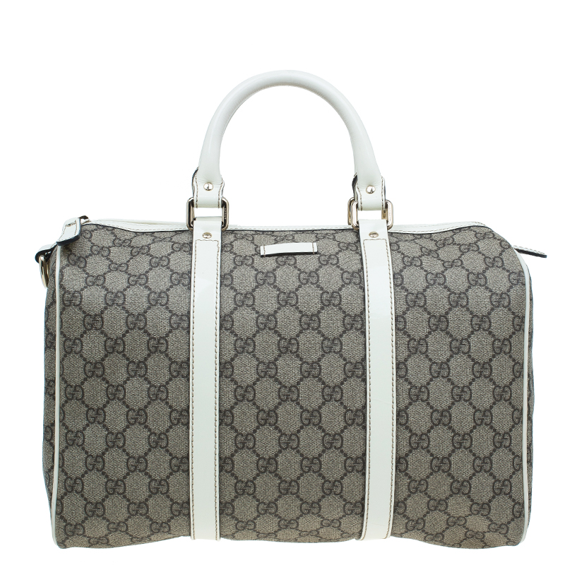 buy gucci beige white gg coated canvas medium joy boston bag 47269