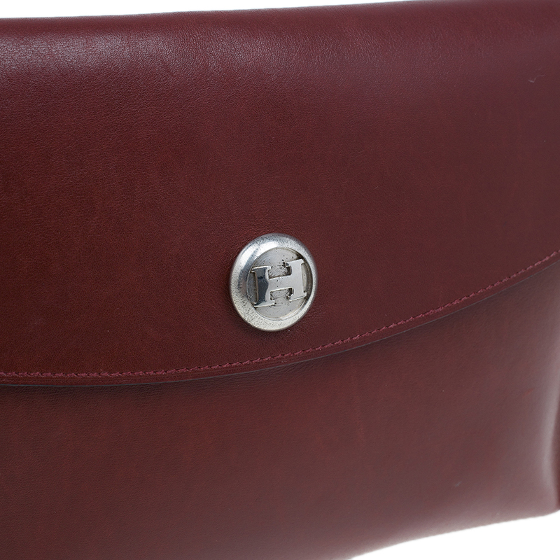 Hermes Burgundy Leather Vintage Envelope Clutch