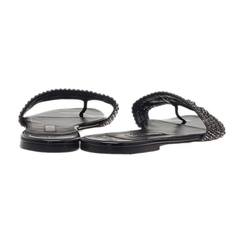 Gina Black Athena Crystal Flat Sandals Size 40