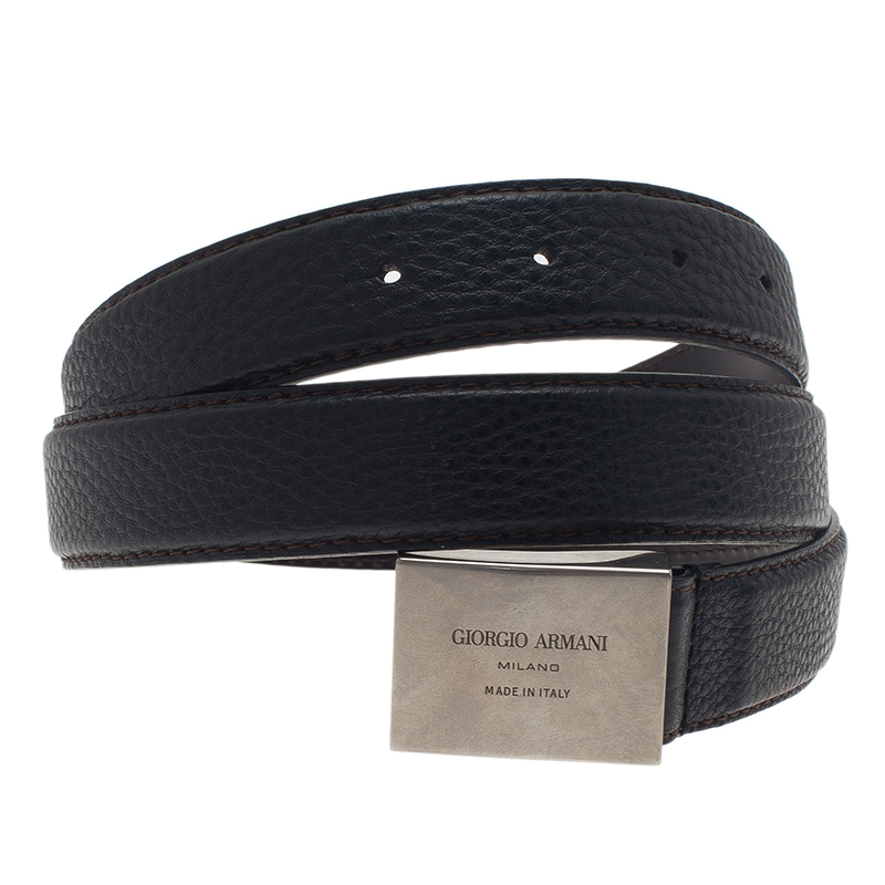 Giorgio Armani Black Leather Belt Size 52