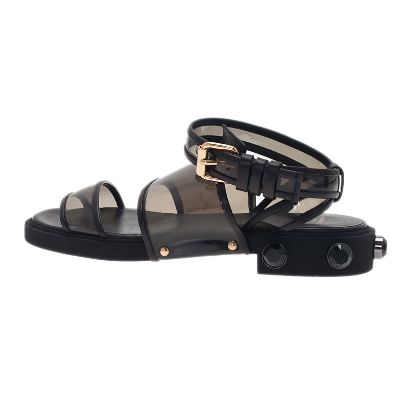 Givenchy Black Embellished PVC Heel Sandals Size 38.5