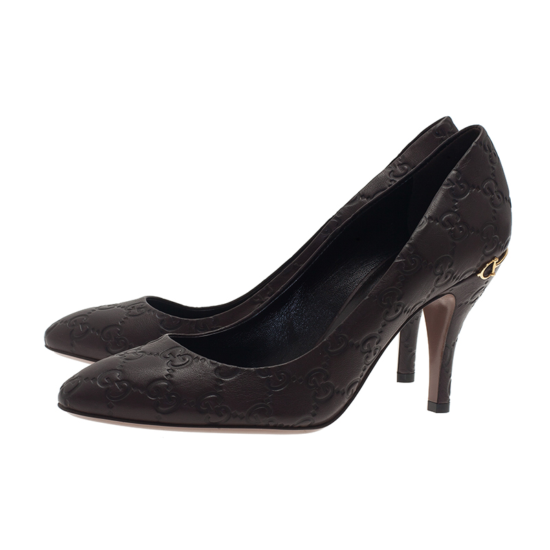 Gucci Black Guccissima Leather Pumps Size 38