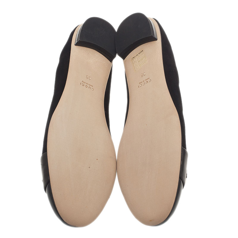 Gucci Black Patent Leather and Suede Bamboo Horsebit Ballet Flats Size 38