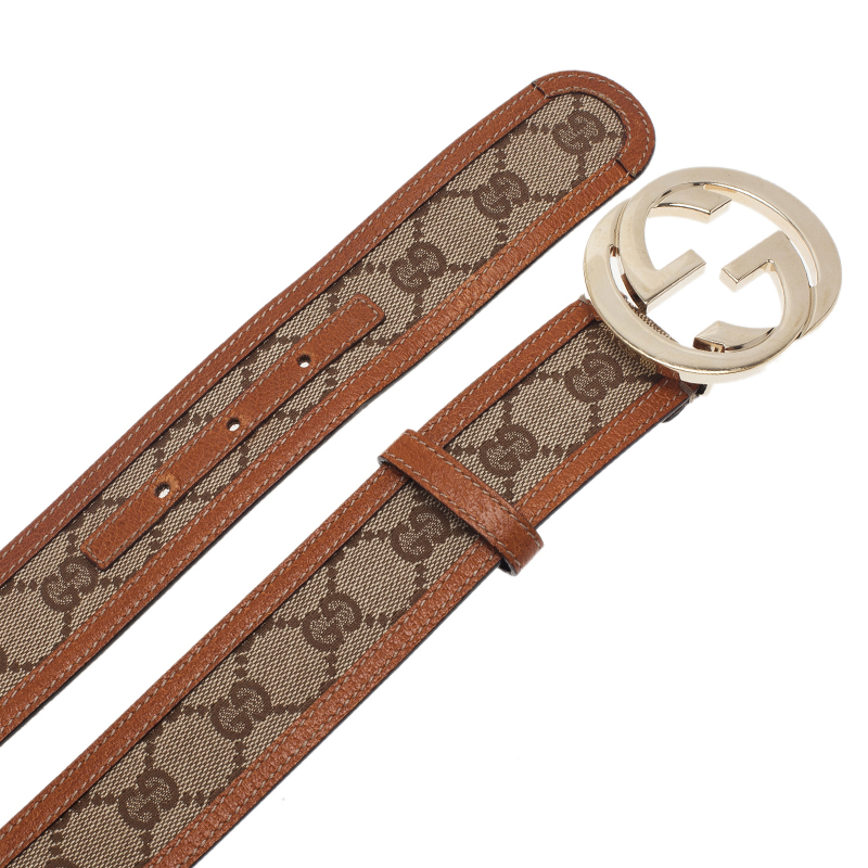 Gucci Beige Guccissima Leather and Canvas GG Buckle Belt 90CM