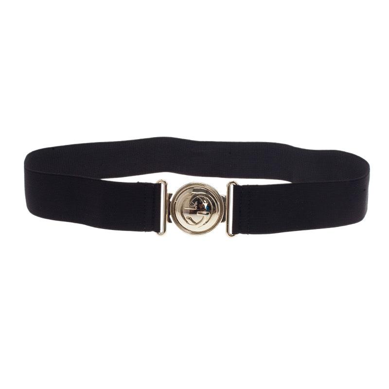 Gucci Black Interlocking GG Stretch Belt 75 CM