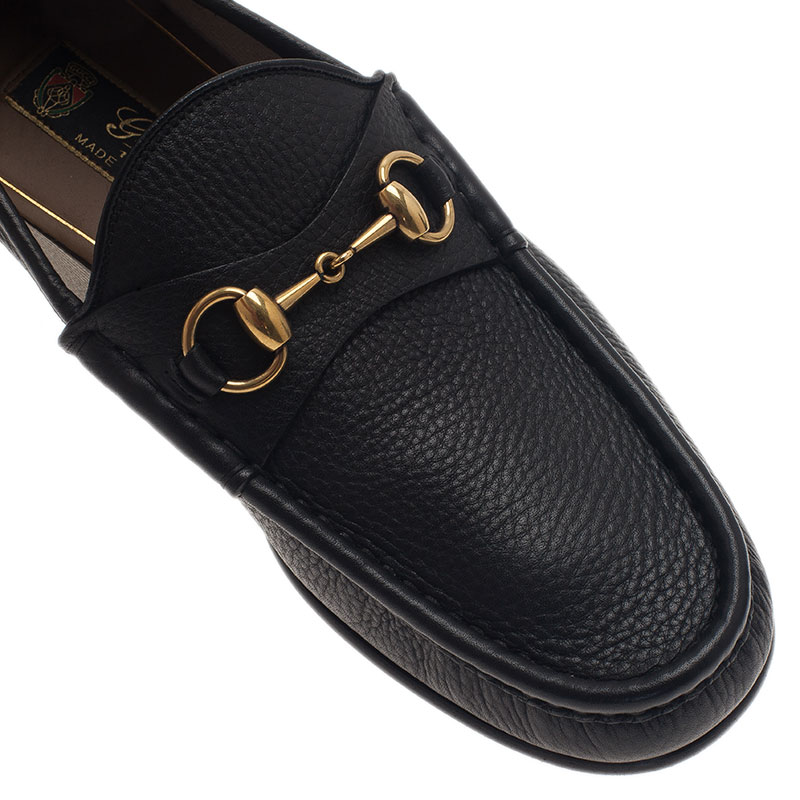 Gucci Black Leather 1953 Horsebit Loafers Size 43.5