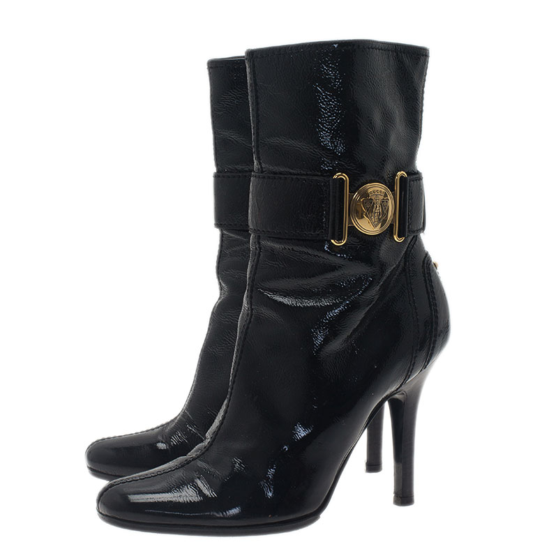 Gucci Black Leather Ankle Boots Size 37.5