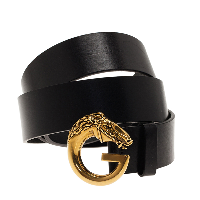 Gucci Black  Leather Horse Head G Buckle Belt 95CM