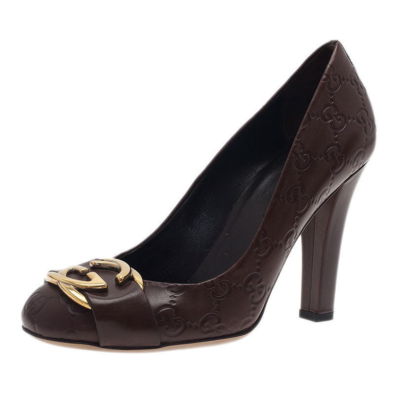 Gucci Brown Guccissima Leather Interlocking G Buckle Pumps Size 37