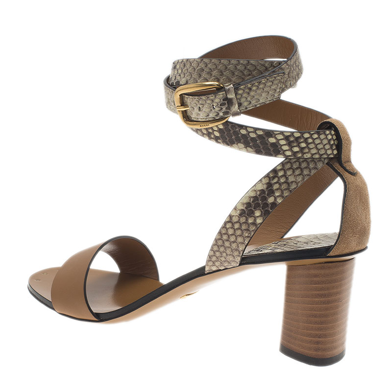 Gucci Brown Leather and Python Ankle Wrap Sandals Size 40
