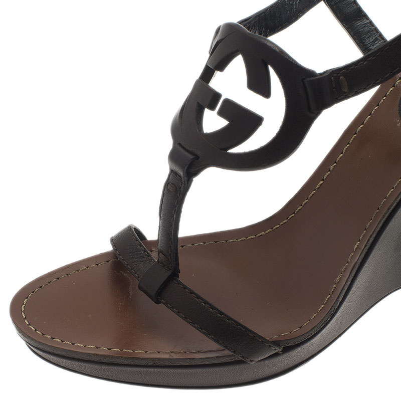 Gucci Brown Leather Logo Strappy Wedges Size 37.5