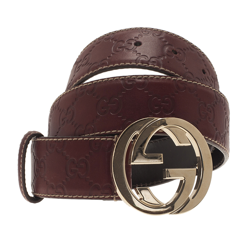 Gucci Burgundy Guccissima Leather Interlocking G Buckle Belt 80CM