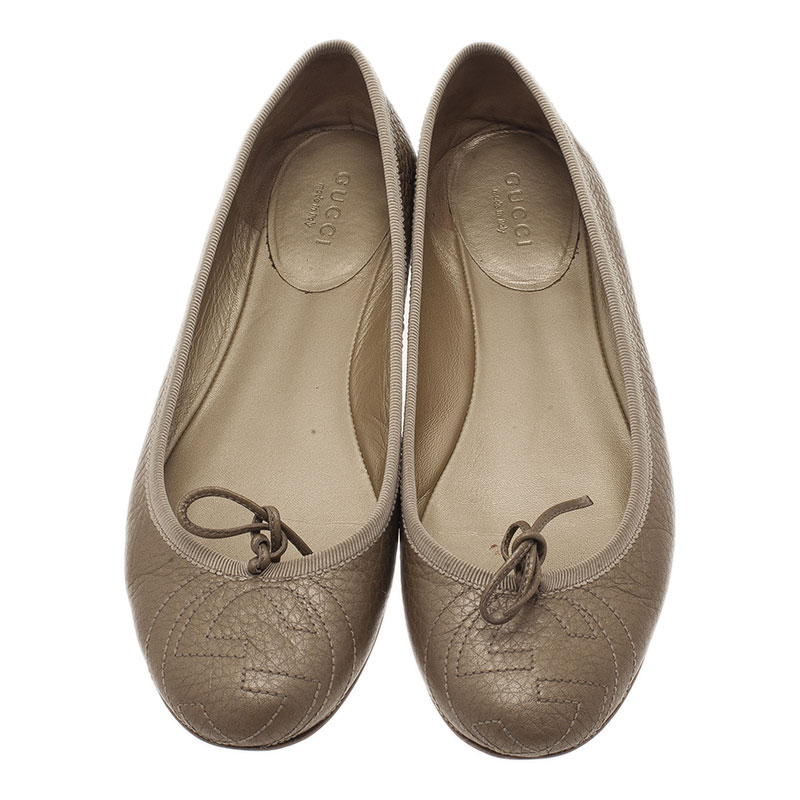 Gucci Gold Metallic Leather GG Embroidered Ballet Flats Size 36
