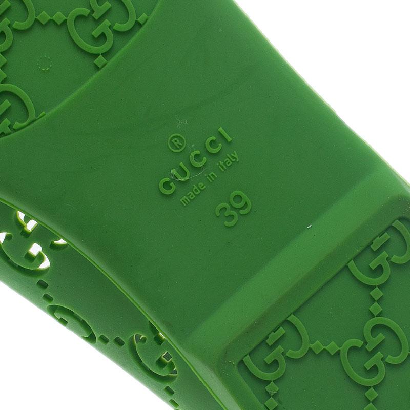 Gucci Green 'GG' Rubber Ballet Flats Size 39