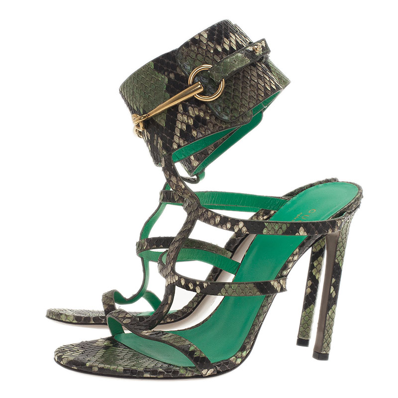 Gucci Green Python 'Ursula' Ankle Strap Cage Sandals Size 39