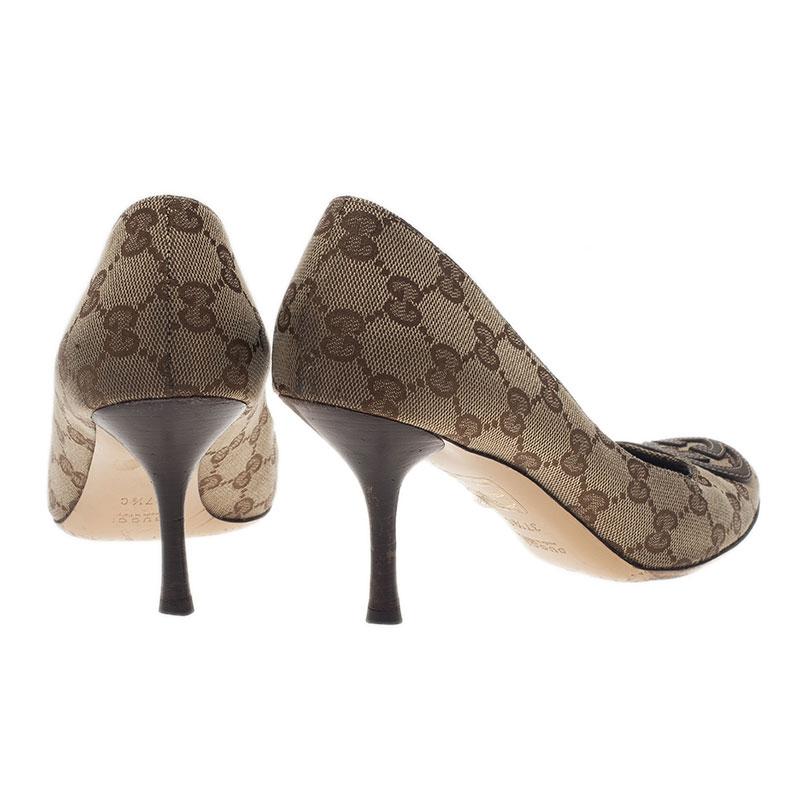 Gucci Guccissima Canvas GG Logo Pumps Size 38