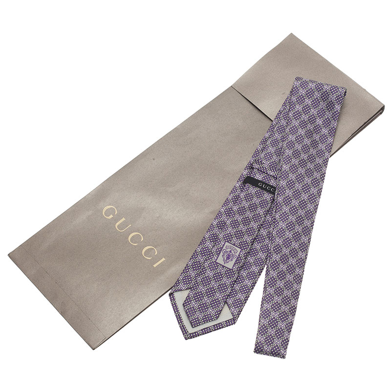 Gucci Purple Silk Linen GG Tie