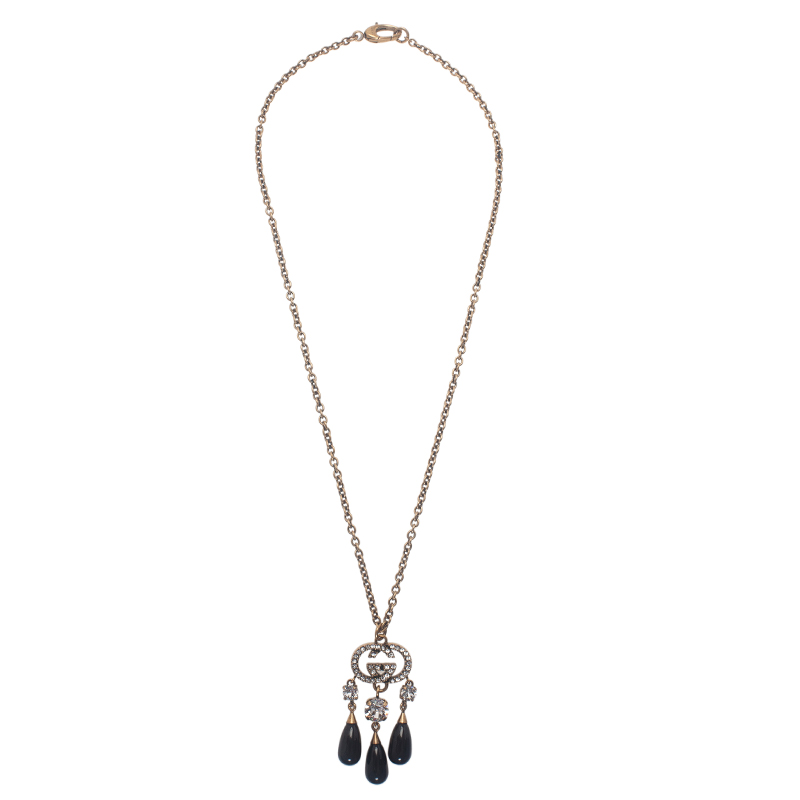 Gucci White Crystals and Black Glass Drops Pendant Necklace