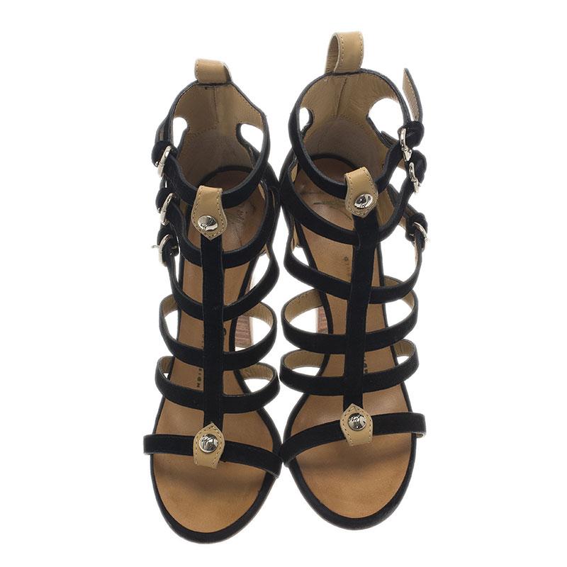 Giuseppe Zanotti Black Suede Strappy Gladiator Sandals Size 36