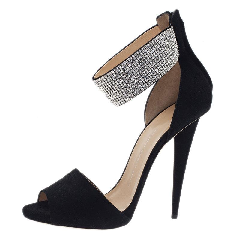 Giuseppe Zanotti Black Crystal Embellished Suede Ankle Strap Sandals Size 41