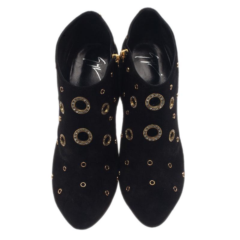 Giuseppe Zanotti Black Suede Booties Size 42