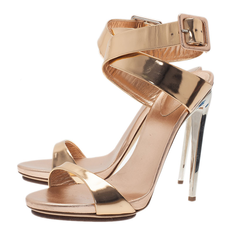 Giuseppe Zanotti Gold Metallic Leather Ankle Strap Sandals Size 41