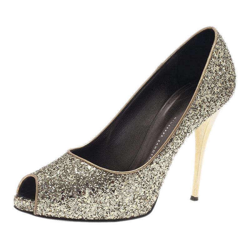 Giuseppe Zanotti Gold Glitter Peep Toe Pumps Size 40
