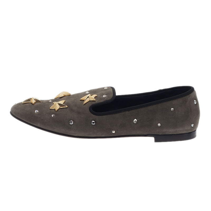 Giuseppe Zanotti Grey Suede Star Studded Smoking Slippers Size 40.5