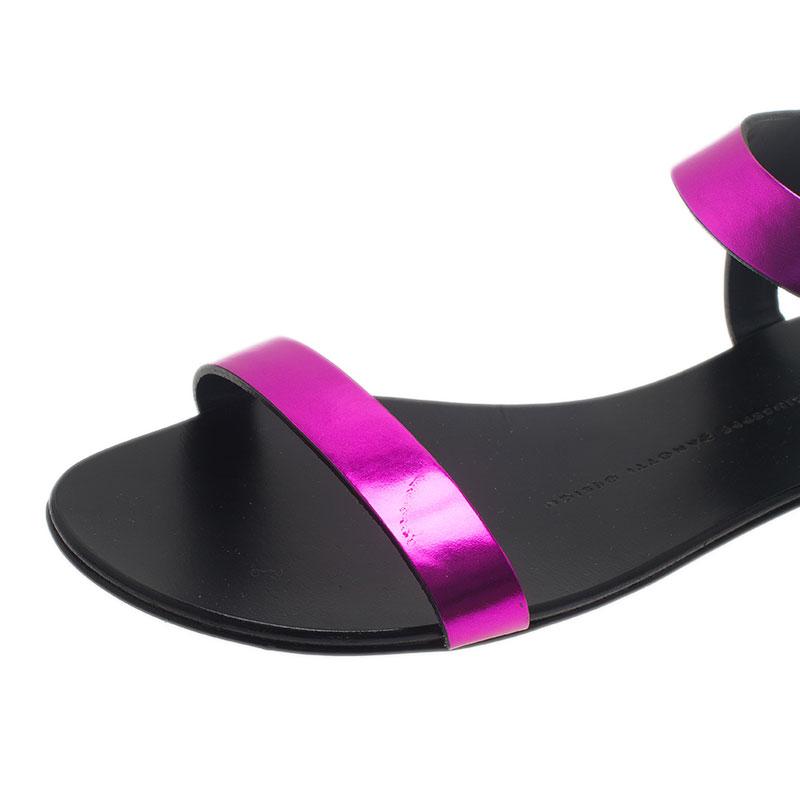 Giuseppe Zanotti Purple Leather Nuvoroll Flat Sandals Size 37