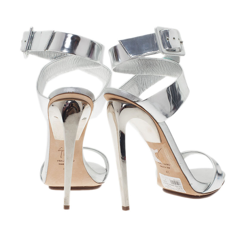 Giuseppe Zanotti Silver Metallic Leather Ankle Strap Sandals Size 41