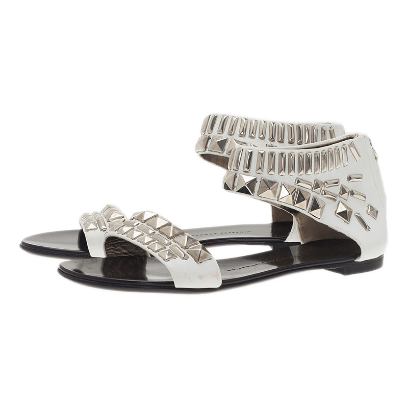 Giuseppe Zanotti White Studded Leather Back Zip Flat Sandals Size 38