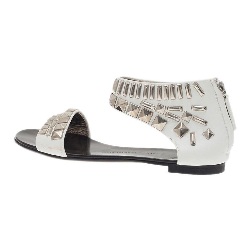 Giuseppe Zanotti White Studded Leather Back Zip Flat Sandals Size 38