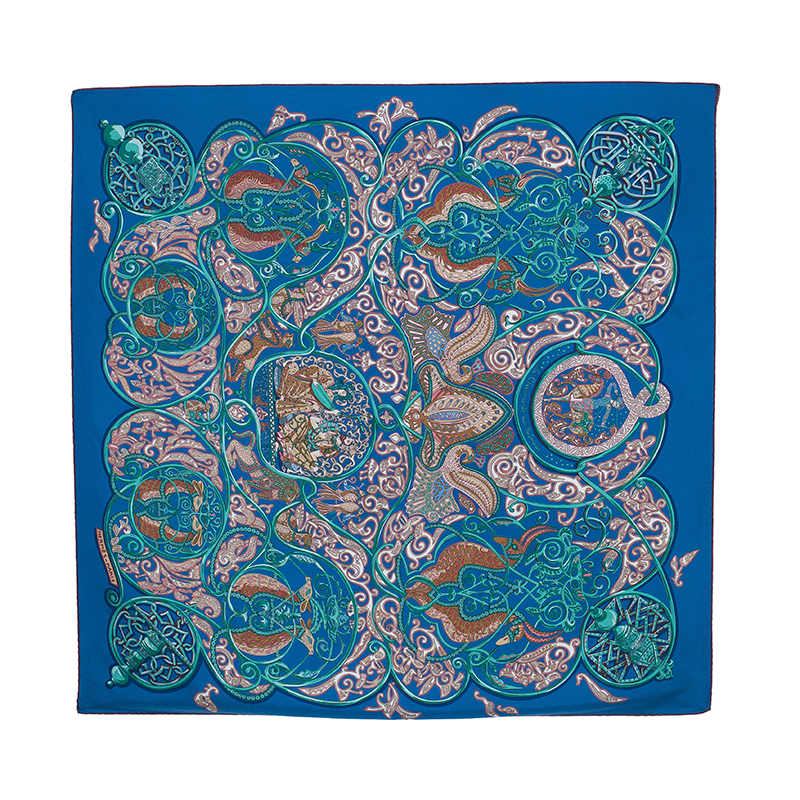 Hermes Blue La Charmante aux Animaux Silk Scarf