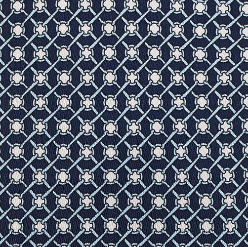 Hermes Navy Blue Printed Silk Tie