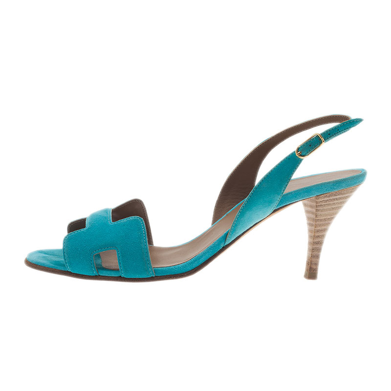 Hermes Blue Suede Night Sandals Size 37