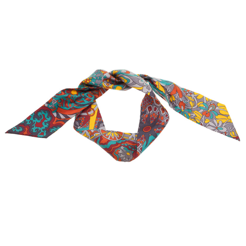 Hermes Multicolored Silk Twill Neck Scarf