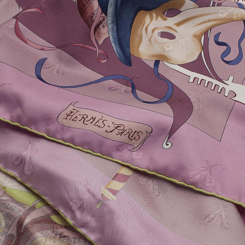 Hermes Purple Silk Fetes Venitiennes Square Scarf