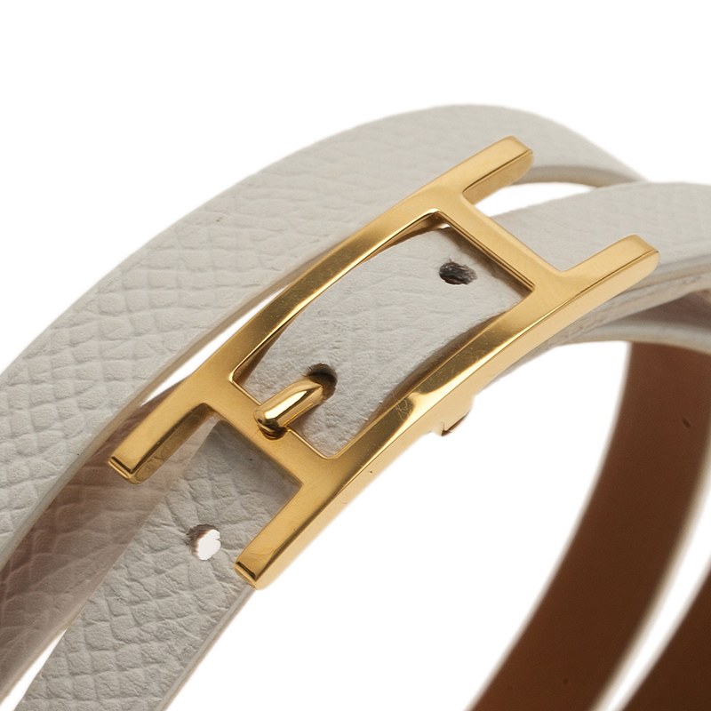 Hermes White Leather Bracelet with Golden Hardware