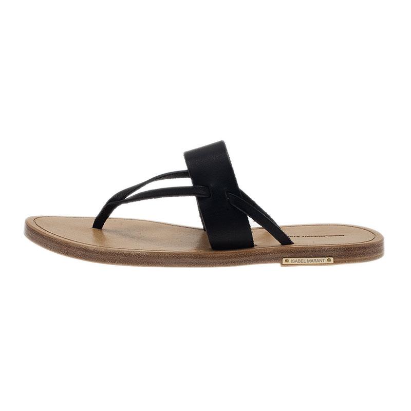 Isabel Marant Black Leather Étoile Alexia Sandals Size 38