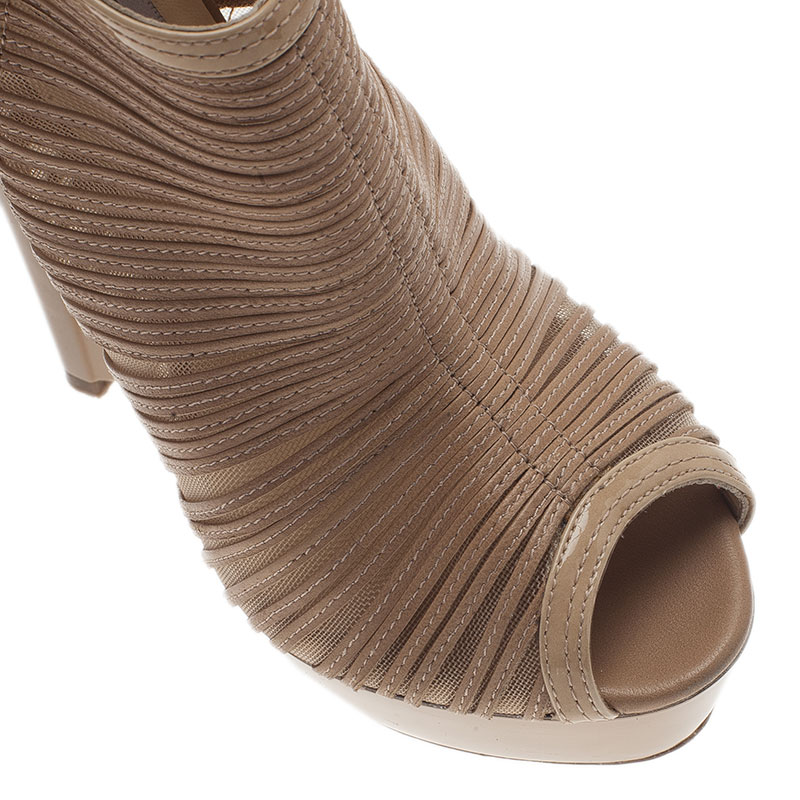 Jimmy Choo Beige Leather and Mesh Ellie Wedge Platform Booties Size 37
